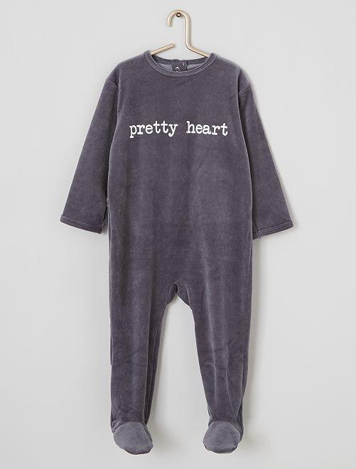 Pyjama en velours imprimé                                                                                         gris/pretty