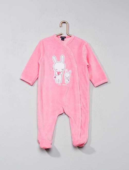 Pyjama en velours imprimé lapin                                         rose Bébé fille