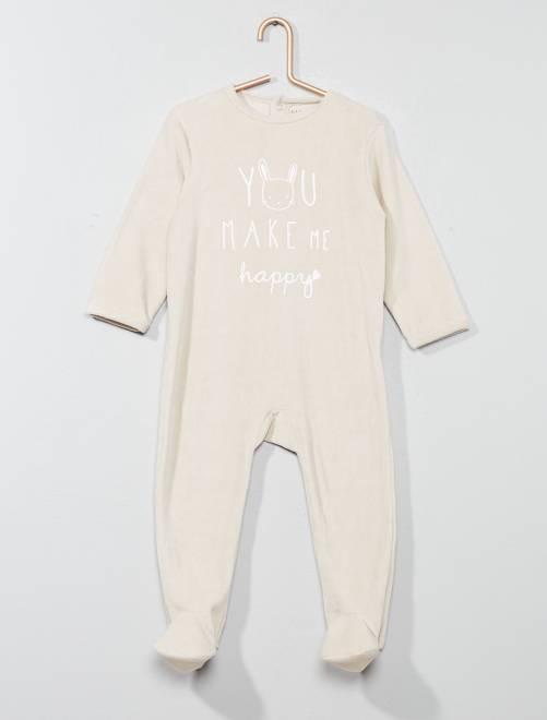Pyjama en velours imprimé message                                                     beige Bébé fille