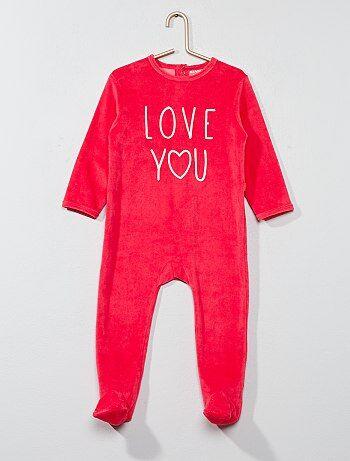 Fille 0-36 mois - Pyjama en velours imprimé message - Kiabi