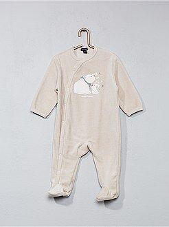 Pyjama, peignoir - Pyjama en velours imprimé 'ours'