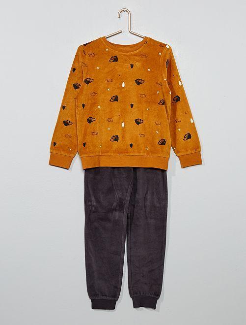 Pyjama en velours imprimé 'ours'                                                                             camel
