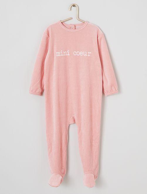 Pyjama en velours imprimé                                                                                         rose/cœur
