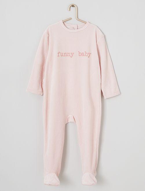 Pyjama en velours imprimé                                                                                         rose/funny