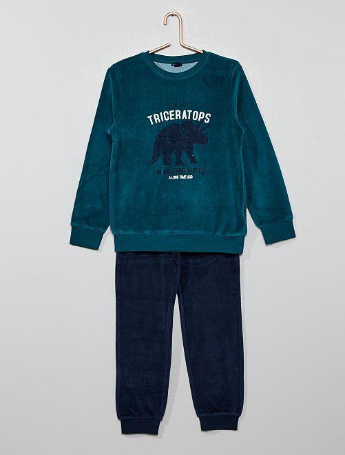Pyjama en velours imprimé                                                                             vert dino