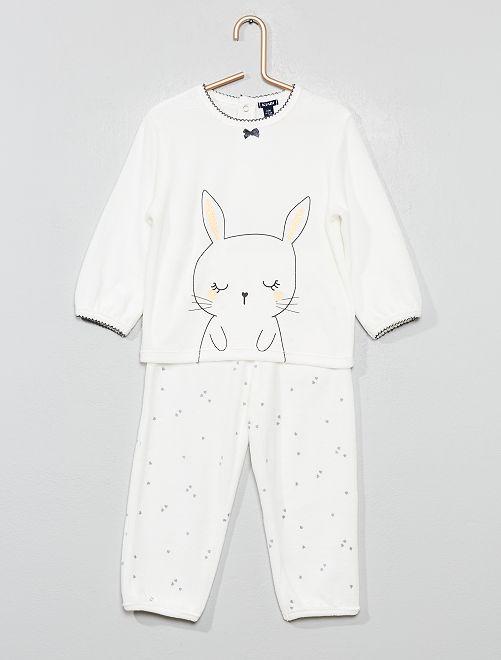 Pyjama en velours 'Lapin'                                                     blanc Bébé fille