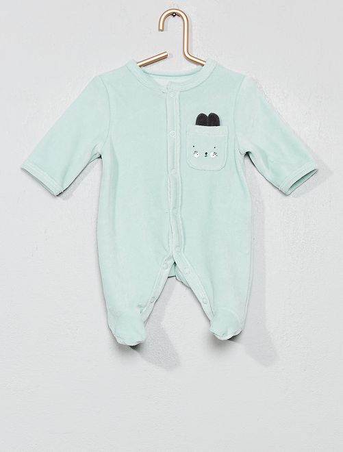 Pyjama en velours 'lapin'                                                     vert d'eau Bébé garçon
