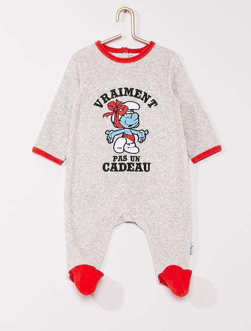 Pyjama en velours 'Les Schtroumpfs'                             GRIS