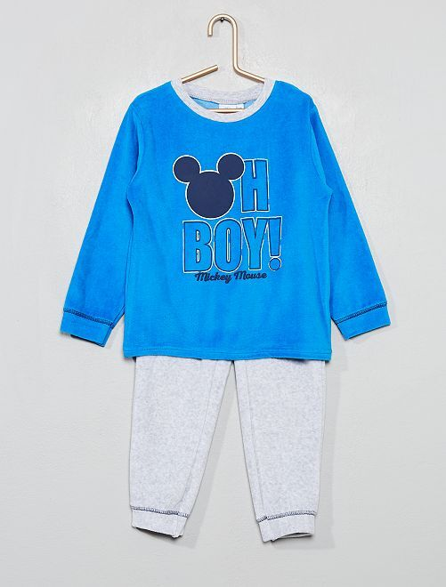 Pyjama en velours 'Mickey'                             bleu/gris