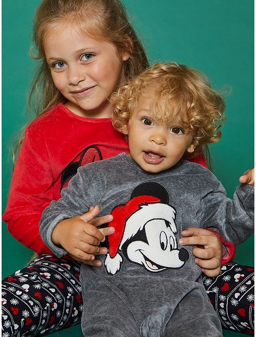 Pyjama en velours 'Mickey'                                         gris