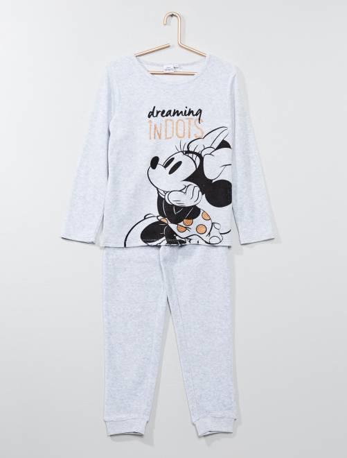 Pyjama en velours 'Minnie'                             gris Fille