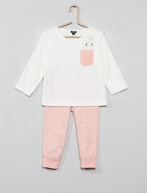 Pyjama en velours 'mouton'                             écru/rose