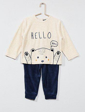 Garçon 0-36 mois - Pyjama en velours 'ours' - Kiabi