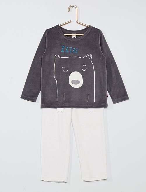 Pyjama en velours 'ours'                                         gris