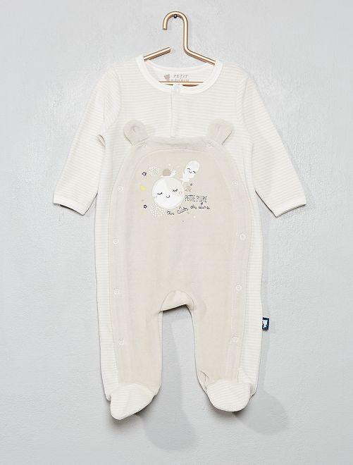 Pyjama en velours 'Petit Béguin'                             beige/gris