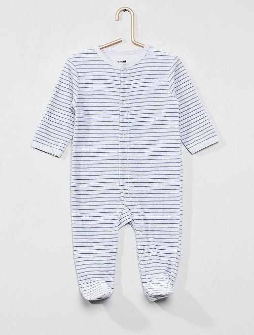 Pyjama en velours rayé                             gris Bébé garçon