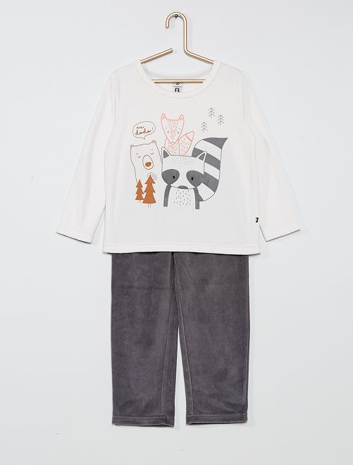 Pyjama en velours 'renard'                                         blanc