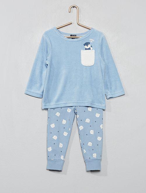 Pyjama en velours 'renard'                                         bleu ciel Bébé garçon
