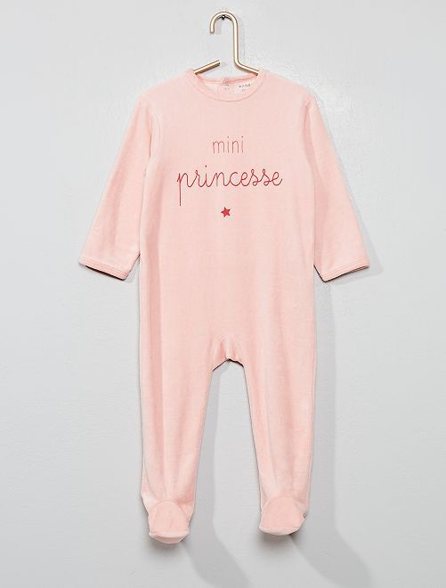 Pyjama en velours                                                     rose Bébé fille