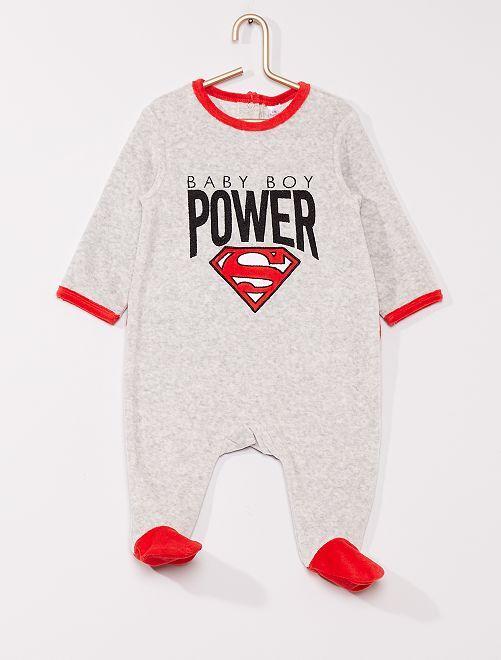 Pyjama en velours 'Superman' de 'DC Comics'                             GRIS