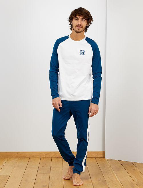 Pyjama esprit campus                                         blanc/bleu canard