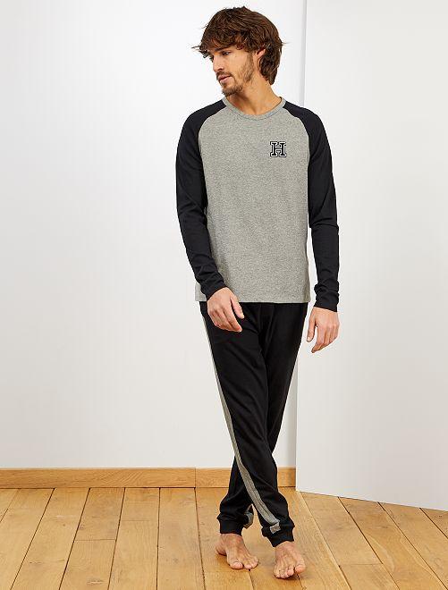 Pyjama esprit campus                                         gris/noir
