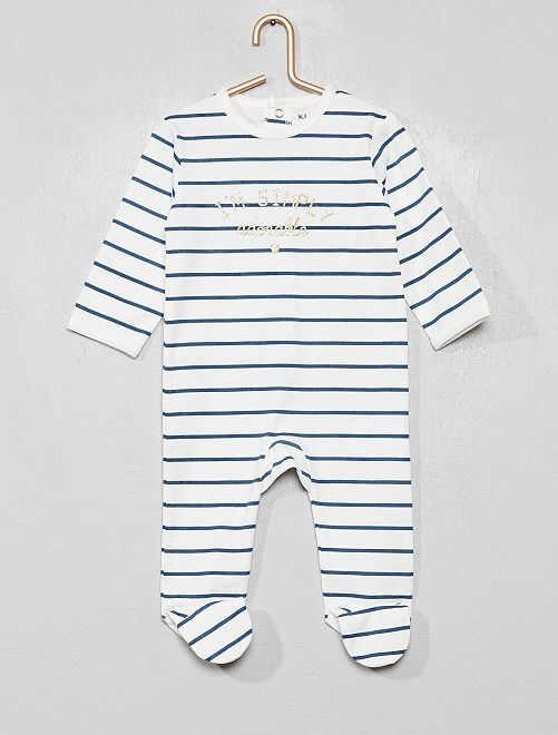Pyjama imprimé                                                                                                                                                                                                                                         blanc/rayures