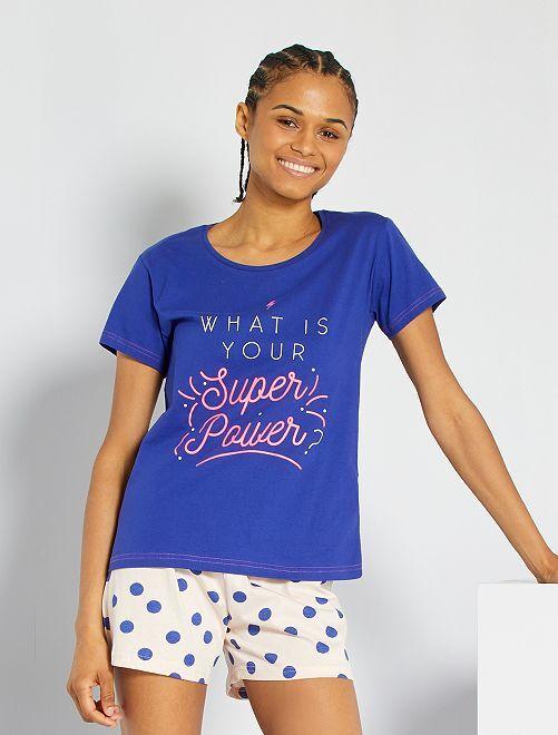 Pyjama imprimé                             bleu/rose pâle
