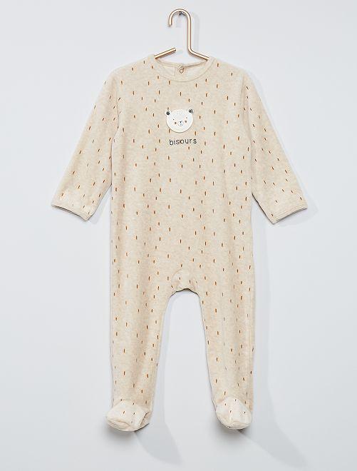 Pyjama imprimé éco-conçu                                                                                                                                                                                                                                         beige ours