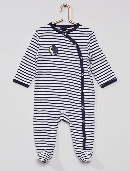Pyjama imprimé éco-conçu                                                                                         blanc rayé