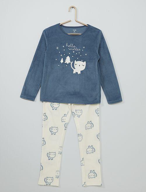 Pyjama imprimé en polaire                                                                 bleu/blanc