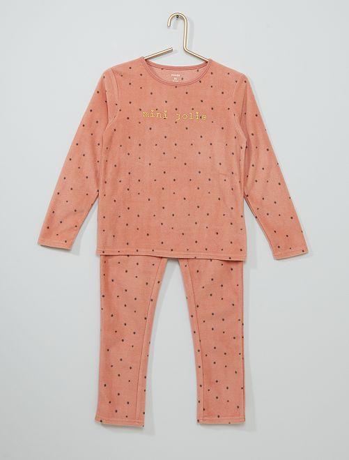 Pyjama imprimé en polaire                                                                 rose/gris