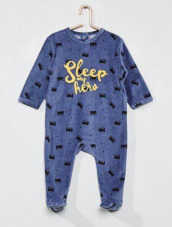 Garçon 0-36 mois - Pyjama imprimé en velours - Kiabi 33e3b0c544b
