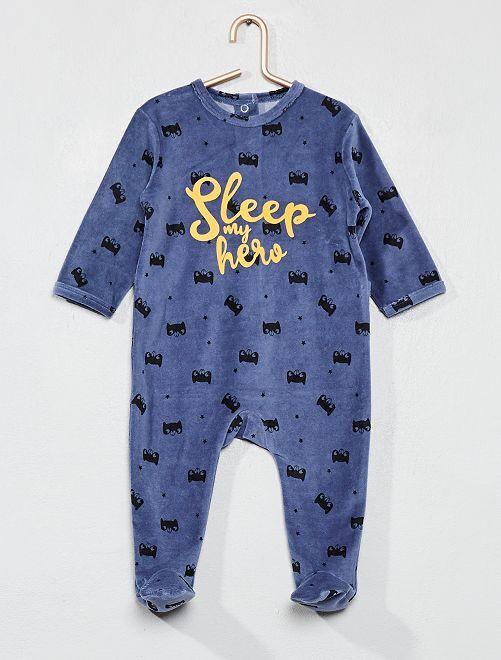 Pyjama imprimé en velours                             bleu Bébé garçon