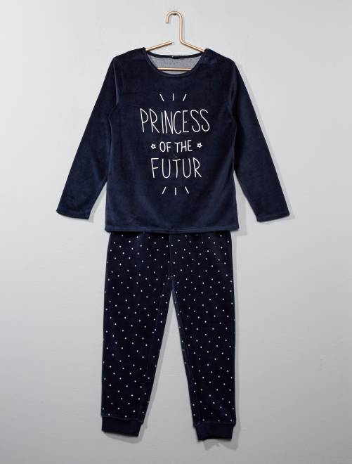 Pyjama imprimé en velours                                         bleu Fille