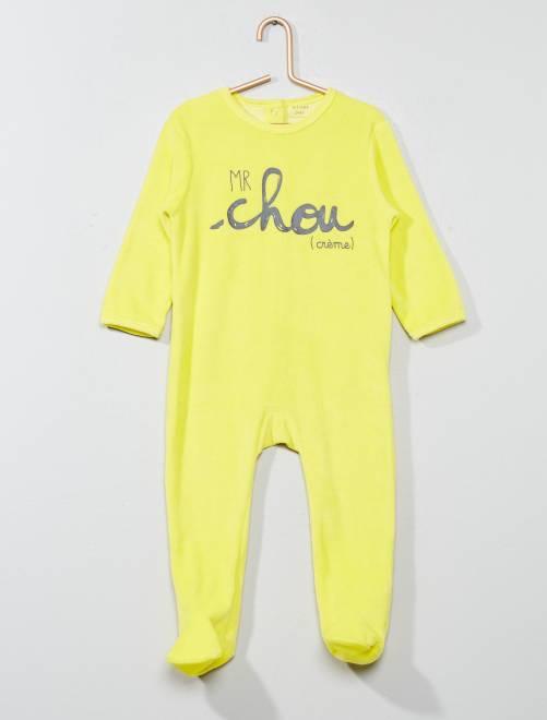 Pyjama imprimé en velours                                                     jaune Bébé garçon