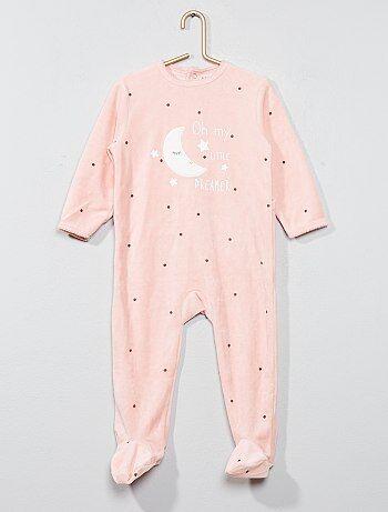 Fille 0-36 mois - Pyjama imprimé en velours - Kiabi