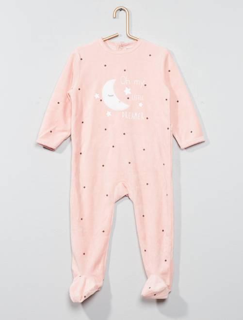 Pyjama imprimé en velours                                                         rose Bébé fille