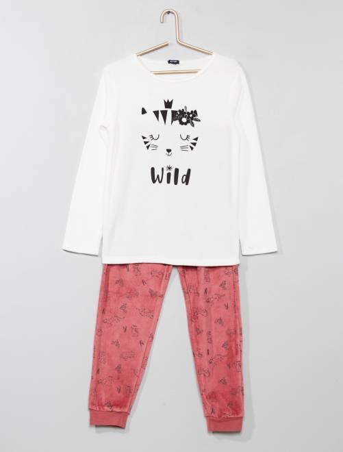 Pyjama imprimé en velours                     rose