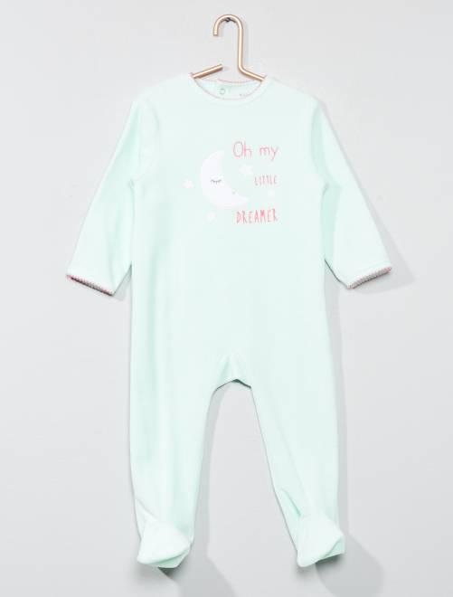 Pyjama imprimé en velours                                                                                         vert Bébé fille