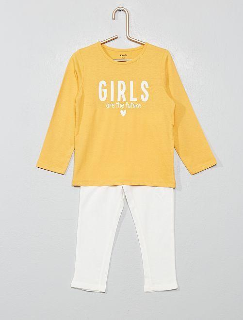 Pyjama imprimé 'girls'                                                                                         jaune/écru