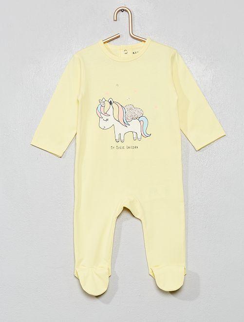 Pyjama imprimé                                                                                                                                                                                                                                         jaune/licorne