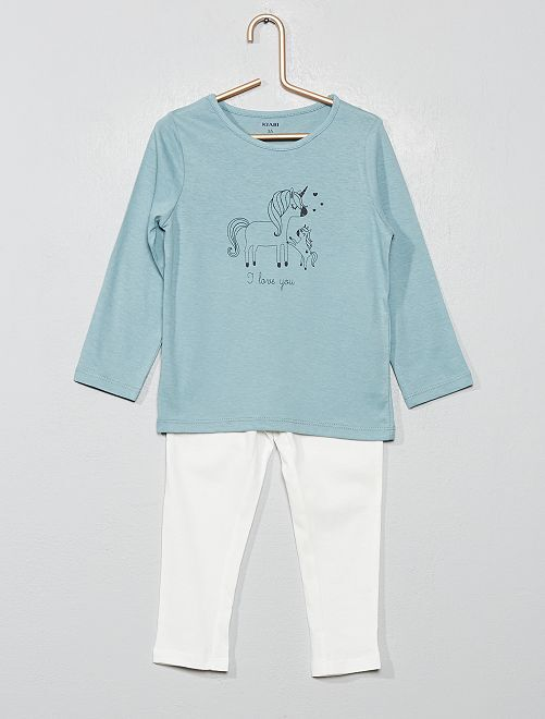 Pyjama imprimé 'licorne'                                                                                         vert de gris