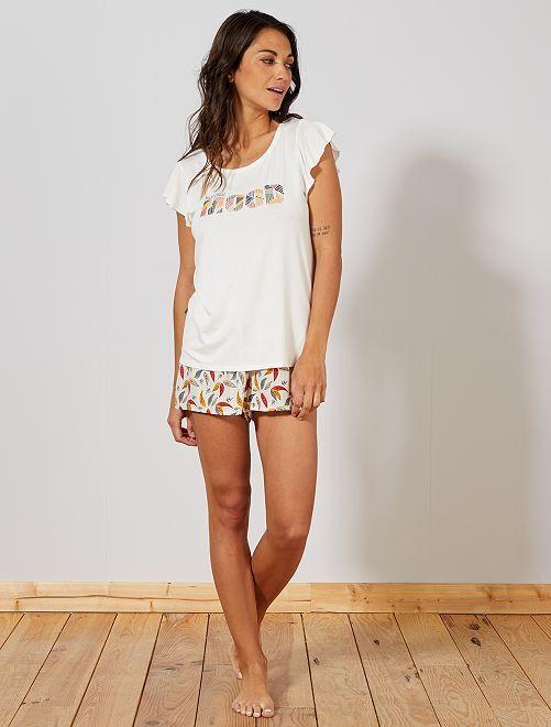 Pyjama imprimé maille fluide                                                                 BLANC Lingerie du s au xxl