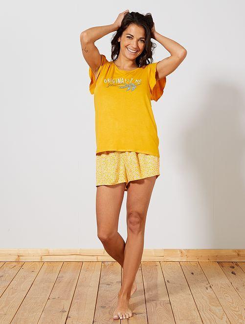 Pyjama imprimé maille fluide                                                                 jaune Lingerie du s au xxl