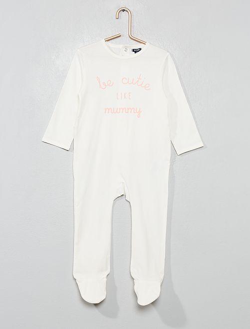Pyjama imprimé 'message'                                         blanc/rose Bébé fille