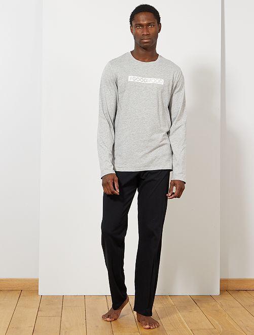 Pyjama imprimé message                     gris clair chiné/noir