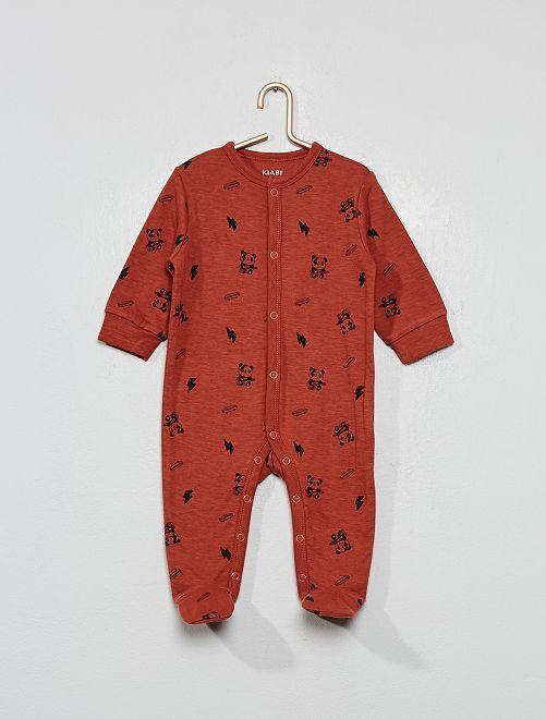 Pyjama imprimé motifs 'rock'                             marron