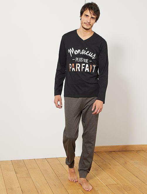 Pyjama imprimé                             noir/gris