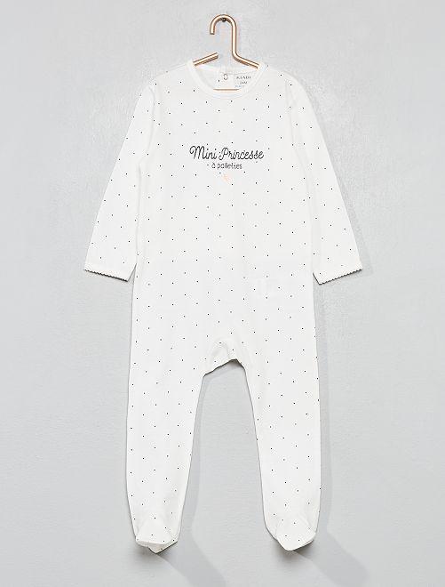 Pyjama imprimé pailleté                                                                 blanc Bébé fille